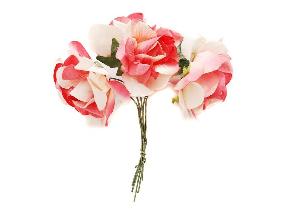 Набор цветов «Магнолия красно-белая»Бумага и материалы для скрапбукинга<br><br><br>Артикул: 4561-SB<br>Размер: (бутона) 2,5-3 см<br>Количество: 12 шт.<br>Материал: Бумага, проволока