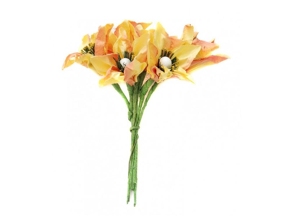 Набор цветов «Лилия желто-оранжевая»Бумага и материалы для скрапбукинга<br><br><br>Артикул: 4567-SB<br>Размер: (бутона) 2,5 см<br>Количество: 12 шт.<br>Материал: Бумага, проволока