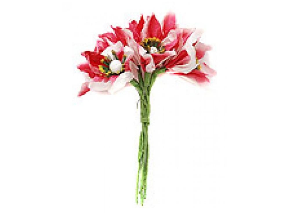 Набор цветов «Лилия красно-белая»Бумага и материалы для скрапбукинга<br><br><br>Артикул: 4569-SB<br>Размер: (бутона) 2,5 см<br>Количество: 12 шт.<br>Материал: Бумага, проволока