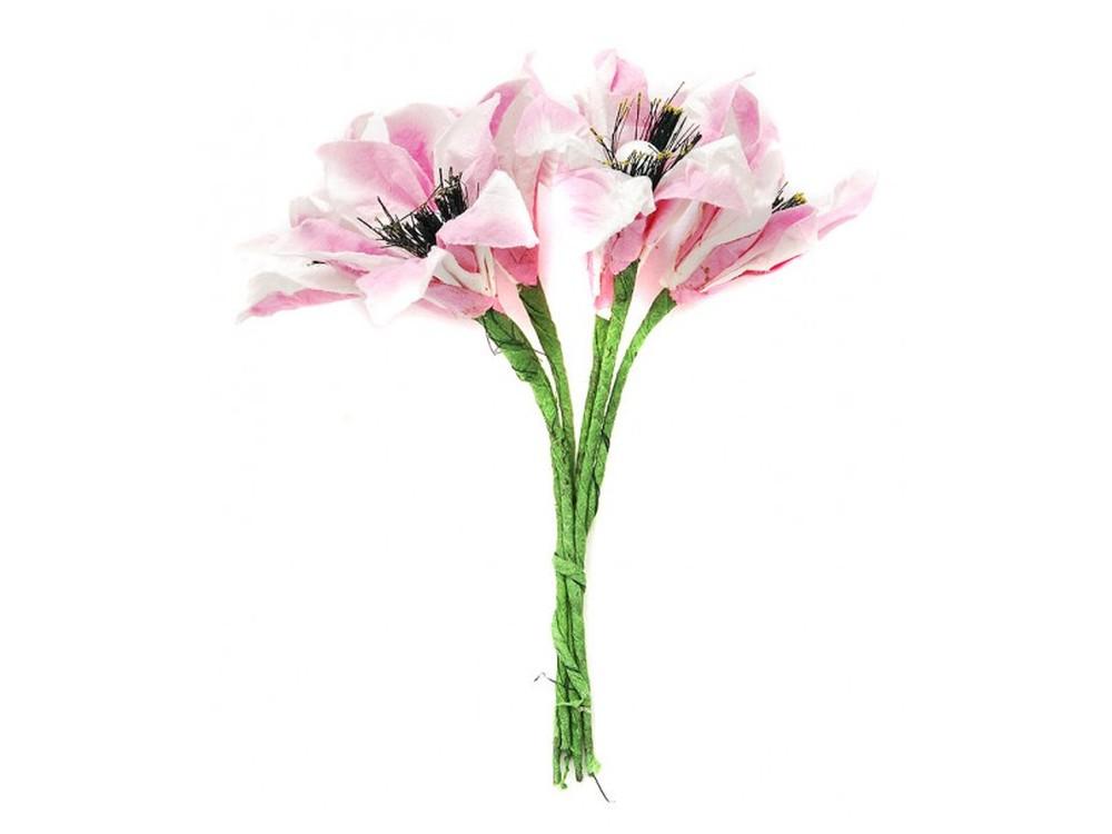 Набор цветов «Лилия бело-розовая»Бумага и материалы для скрапбукинга<br><br><br>Артикул: 4570-SB<br>Размер: (бутона) 2,5 см<br>Количество: 12 шт.<br>Материал: Бумага, проволока