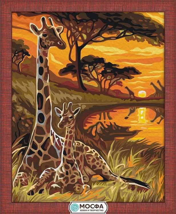Картина по номерам «Жирафы»Раскраски по номерам Мосфа<br>Бренд Мосфа - это новый российский производитель картин по номерам, яркие сюжеты и качество комплектующих премиум-класса.<br><br><br>Особенности наборов<br><br>акриловые краски безопасны для здоровья и окружающей среды, упакованы в специальные вакуумные пакетики, ...<br><br>Артикул: 7C-0068<br>Основа: Холст<br>Сложность: легкие<br>Размер: 40x50 см<br>Количество цветов: 24<br>Техника рисования: Без смешивания красок