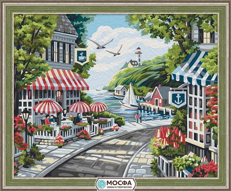 Картина по номерам «Прибрежное кафе»Раскраски по номерам Мосфа<br>Бренд Мосфа - это новый российский производитель картин по номерам, яркие сюжеты и качество комплектующих премиум-класса.<br><br><br>Особенности наборов<br><br>акриловые краски безопасны для здоровья и окружающей среды, упакованы в специальные вакуумные пакетики, ...<br><br>Артикул: 7C-0099<br>Основа: Холст<br>Сложность: средние<br>Размер: 40x50 см<br>Количество цветов: 25<br>Техника рисования: Без смешивания красок