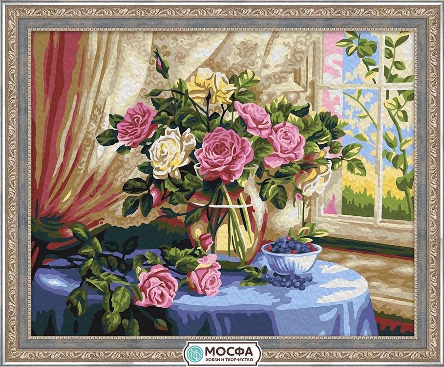 Картина по номерам «Розы у окна»Раскраски по номерам Мосфа<br>Бренд Мосфа - это новый российский производитель картин по номерам, яркие сюжеты и качество комплектующих премиум-класса.<br><br><br>Особенности наборов<br><br>акриловые краски безопасны для здоровья и окружающей среды, упакованы в специальные вакуумные пакетики, ...<br><br>Артикул: 7C-0105<br>Основа: Холст<br>Сложность: средние<br>Размер: 40x50 см<br>Количество цветов: 21<br>Техника рисования: Без смешивания красок
