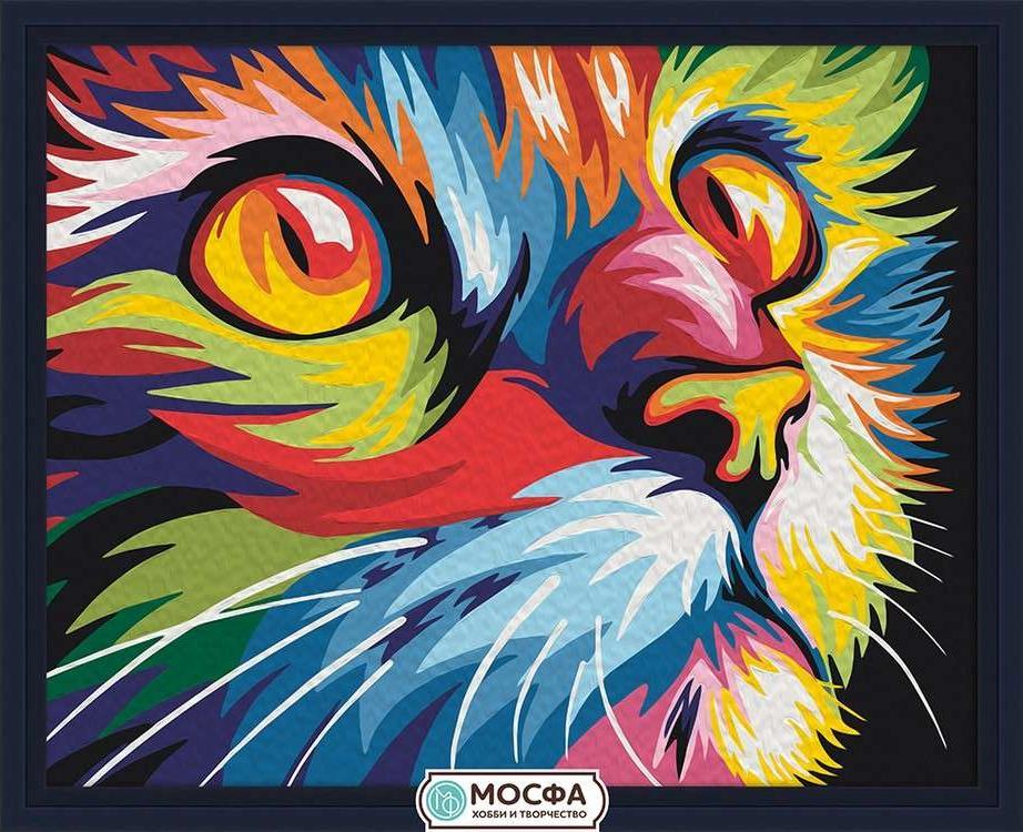Картина по номерам «Красочный кот» Ваю РомдониРаскраски по номерам Мосфа<br>Бренд Мосфа - это новый российский производитель картин по номерам, яркие сюжеты и качество комплектующих премиум-класса.<br><br><br>Особенности наборов<br><br>акриловые краски безопасны для здоровья и окружающей среды, упакованы в специальные вакуумные пакетики, ...<br><br>Артикул: 7C-0128<br>Основа: Холст<br>Сложность: очень легкие<br>Размер: 40x50 см<br>Количество цветов: 17<br>Техника рисования: Без смешивания красок
