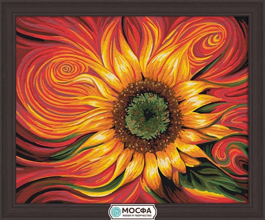 Картина по номерам «Огненный подсолнух» Рикардо Чавеса МендесаРаскраски по номерам Мосфа<br>Бренд Мосфа - это новый российский производитель картин по номерам, яркие сюжеты и качество комплектующих премиум-класса.<br><br><br>Особенности наборов<br><br>акриловые краски безопасны для здоровья и окружающей среды, упакованы в специальные вакуумные пакетики, ...<br><br>Артикул: 7C-0197<br>Основа: Холст<br>Сложность: легкие<br>Размер: 40x50 см<br>Художник: Рикардо Чавес Мендес<br>Количество цветов: 20<br>Техника рисования: Без смешивания красок