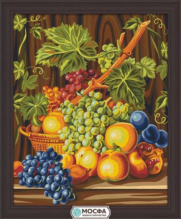 Картина по номерам «Сочный виноград»Раскраски по номерам Мосфа<br>Бренд Мосфа - это новый российский производитель картин по номерам, яркие сюжеты и качество комплектующих премиум-класса.<br><br><br>Особенности наборов<br><br>акриловые краски безопасны для здоровья и окружающей среды, упакованы в специальные вакуумные пакетики, ...<br><br>Артикул: 7C-0263<br>Основа: Холст<br>Сложность: средние<br>Размер: 40x50 см<br>Количество цветов: 28<br>Техника рисования: Без смешивания красок