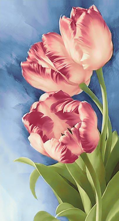 Алмазная вышивка «Весенние цветы»Алмазная вышивка Гранни<br><br><br>Артикул: Ag597<br>Основа: Холст без подрамника<br>Сложность: очень сложные<br>Размер: 38x70 см<br>Выкладка: Полная<br>Количество цветов: 41<br>Тип страз: Квадратные