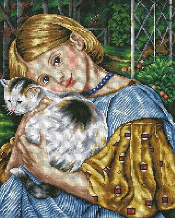 Алмазная вышивка «Девочка с кошкой»Алмазная вышивка Painting Diamond<br><br><br>Артикул: GF1317<br>Основа: Холст на подрамнике<br>Сложность: очень сложные<br>Размер: 40x50 см<br>Выкладка: Полная<br>Количество цветов: 37