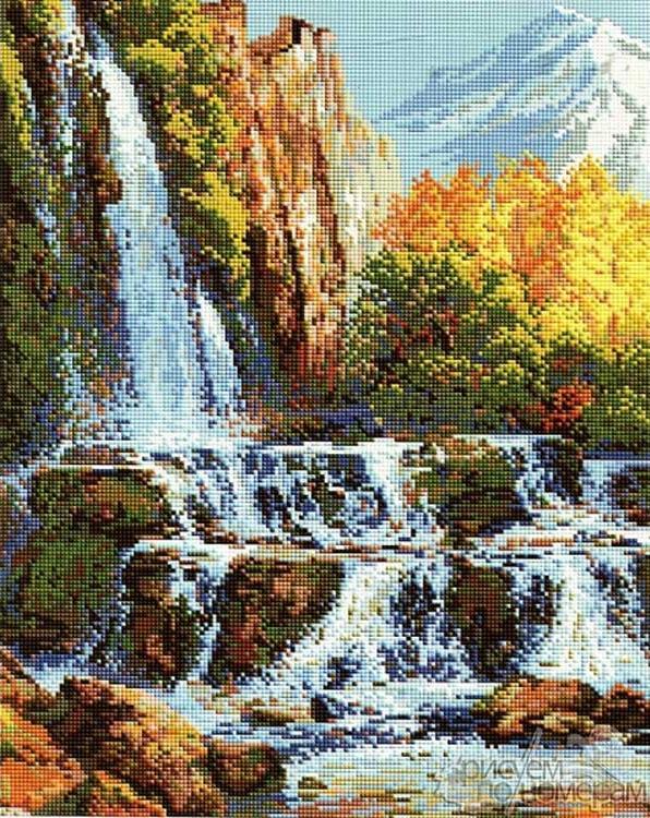 Алмазная вышивка «Водопад в горах»Алмазная вышивка Painting Diamond<br><br><br>Артикул: GF1337<br>Основа: Холст на подрамнике<br>Сложность: сложные<br>Размер: 40x50 см<br>Выкладка: Полная<br>Количество цветов: 30