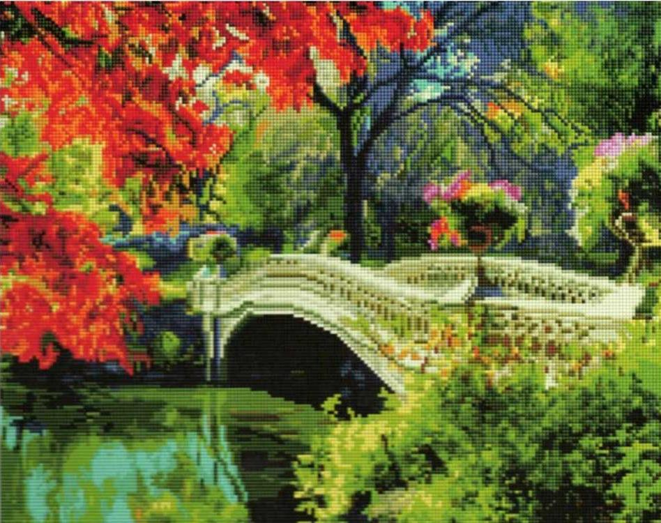 Алмазная вышивка «Осень в парке»Алмазная вышивка Painting Diamond<br><br><br>Артикул: GF1497<br>Основа: Холст на подрамнике<br>Сложность: очень сложные<br>Размер: 40x50 см<br>Выкладка: Полная<br>Количество цветов: 37