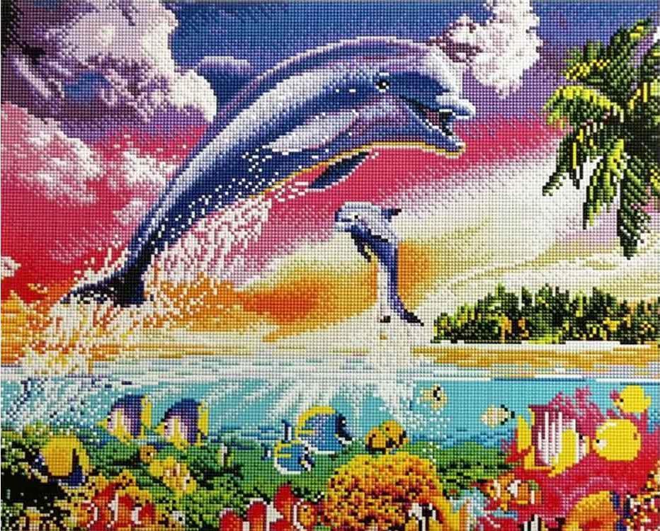 Алмазная вышивка «Танец дельфинов»Алмазная вышивка Painting Diamond<br><br><br>Артикул: GF585<br>Основа: Холст на подрамнике<br>Сложность: очень сложные<br>Размер: 40x50 см<br>Выкладка: Полная<br>Количество цветов: 33