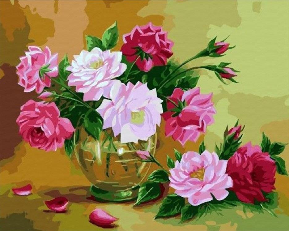 Картина по номерам «Пионы в прозрачной вазе»Paintboy (Premium)<br><br><br>Артикул: GX4258<br>Основа: Холст<br>Сложность: средние<br>Размер: 40x50 см<br>Количество цветов: 26<br>Техника рисования: Без смешивания красок