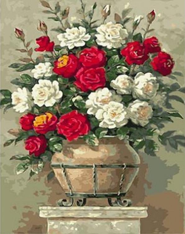 Картина по номерам «Белые и красные розы» Сен КимаPaintboy (Premium)<br><br><br>Артикул: GX4540<br>Основа: Холст<br>Сложность: средние<br>Размер: 40x50 см<br>Количество цветов: 26<br>Техника рисования: Без смешивания красок