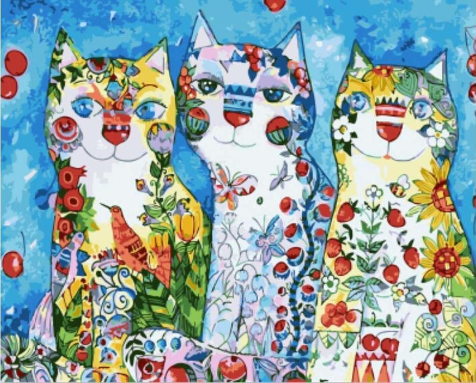Картина по номерам «Три разноцветные кошки» Оксаны ЗаикиPaintboy (Premium)<br><br><br>Артикул: GX4884<br>Основа: Холст<br>Сложность: средние<br>Размер: 40x50 см<br>Количество цветов: 22<br>Техника рисования: Без смешивания красок