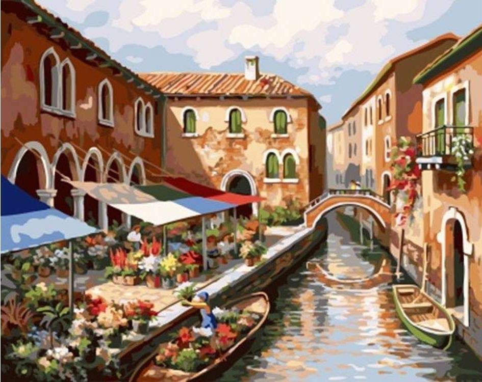 Картина по номерам «Цветы Венеции» Сен КимаPaintboy (Premium)<br><br><br>Артикул: GX4961<br>Основа: Холст<br>Сложность: сложные<br>Размер: 40x50 см<br>Количество цветов: 28<br>Техника рисования: Без смешивания красок