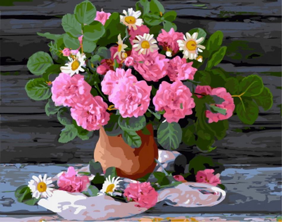 Картина по номерам «Цветочный натюрморт»Paintboy (Premium)<br><br><br>Артикул: GX5569<br>Основа: Холст<br>Сложность: очень сложные<br>Размер: 40x50 см<br>Количество цветов: 35<br>Техника рисования: Без смешивания красок