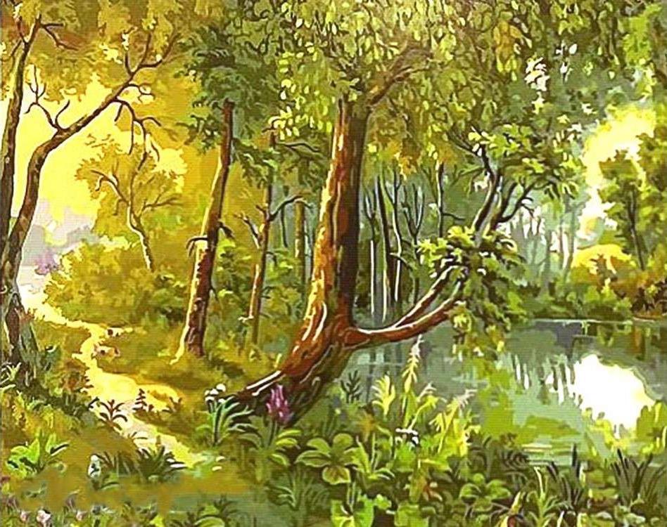 Картина по номерам «Тропинка у лесного озера» Виктора ЦыгановаPaintboy (Premium)<br><br><br>Артикул: GX5628<br>Основа: Холст<br>Сложность: сложные<br>Размер: 40x50 см<br>Количество цветов: 30<br>Техника рисования: Без смешивания красок
