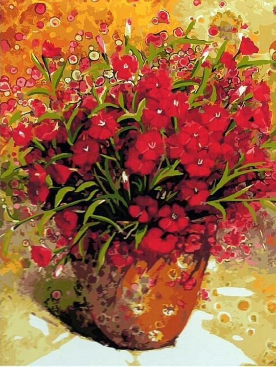 Картина по номерам «Алые цветочки» Ю Сёнг БаяPaintboy (Premium)<br><br><br>Артикул: GX5631<br>Основа: Холст<br>Сложность: сложные<br>Размер: 40x50 см<br>Количество цветов: 29<br>Техника рисования: Без смешивания красок