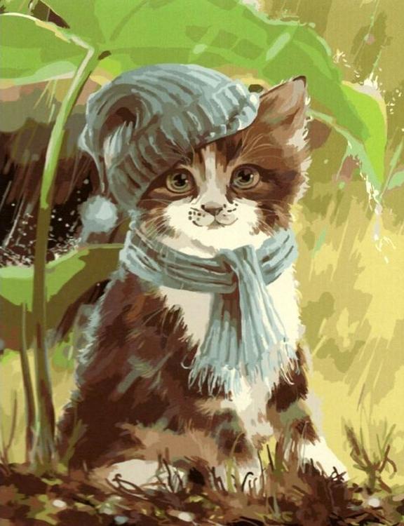 Картина по номерам «Котенок под дождем» Лорри КайеннаPaintboy (Premium)<br><br><br>Артикул: GX5645<br>Основа: Холст<br>Сложность: средние<br>Размер: 40x50 см<br>Количество цветов: 27<br>Техника рисования: Без смешивания красок