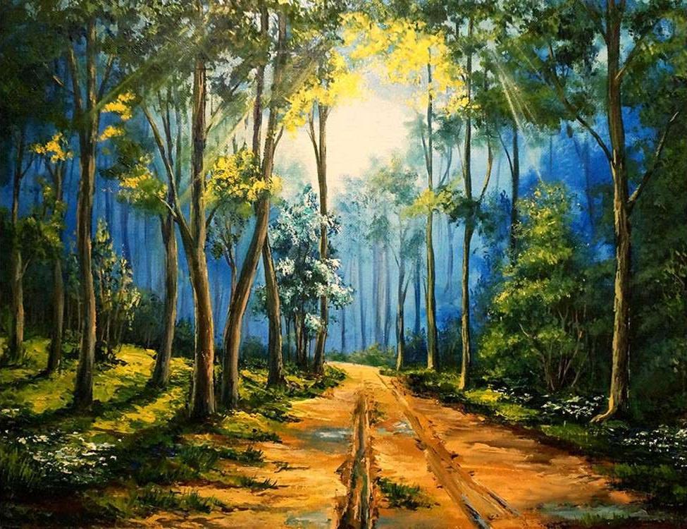 Картина по номерам «Дорога в лесу»Paintboy (Premium)<br><br><br>Артикул: GX5856<br>Основа: Холст<br>Сложность: сложные<br>Размер: 40x50 см<br>Количество цветов: 25<br>Техника рисования: Без смешивания красок
