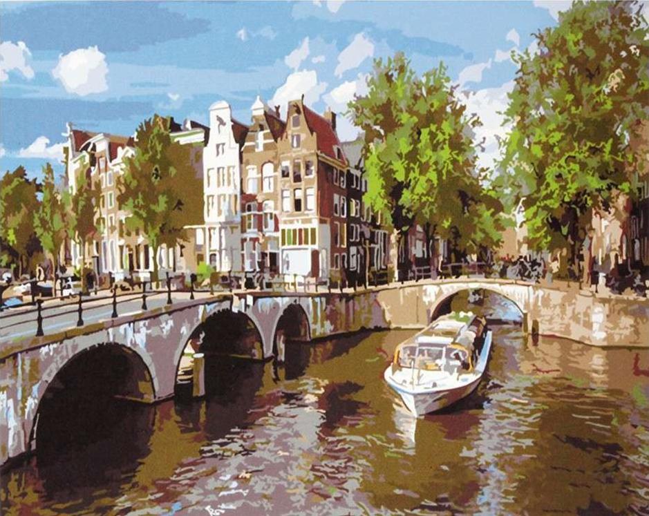 Картина по номерам «Амстердам»Paintboy (Premium)<br><br><br>Артикул: GX5908<br>Основа: Холст<br>Сложность: сложные<br>Размер: 40x50 см<br>Количество цветов: 25<br>Техника рисования: Без смешивания красок