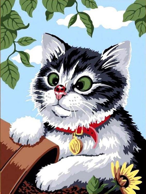 Картина по номерам «Любопытный котенок»Paintboy (Premium)<br><br><br>Артикул: GX6427<br>Основа: Холст<br>Сложность: легкие<br>Размер: 40x50 см<br>Количество цветов: 14<br>Техника рисования: Без смешивания красок