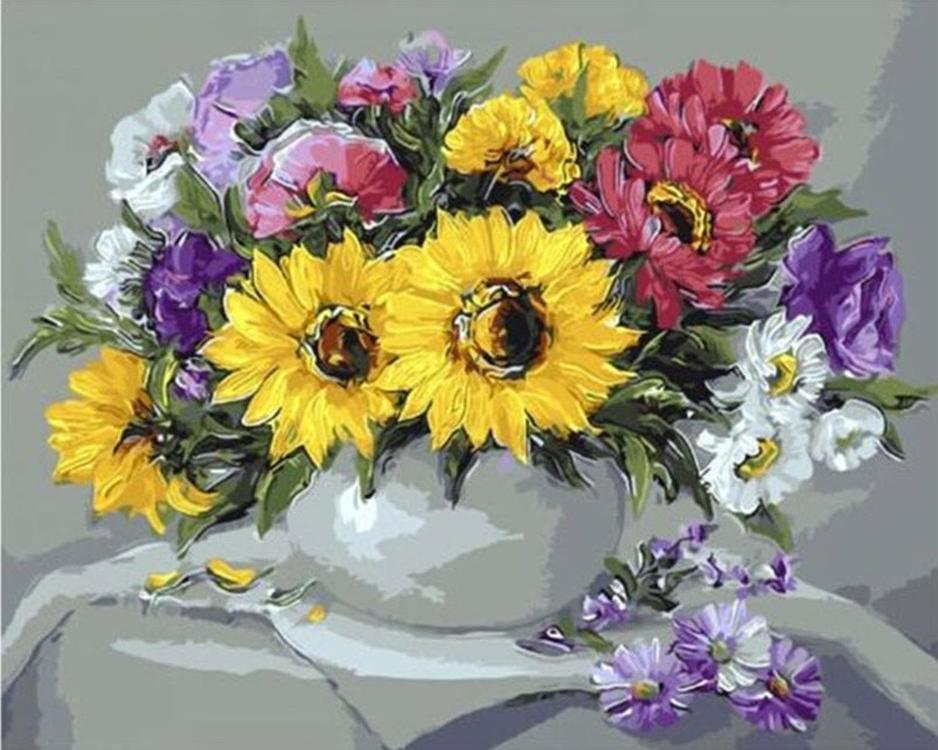 Картина по номерам «Цветочный натюрморт» Анки БулгаруPaintboy (Premium)<br><br><br>Артикул: GX9415<br>Основа: Холст<br>Сложность: средние<br>Размер: 40x50 см<br>Количество цветов: 27<br>Техника рисования: Без смешивания красок