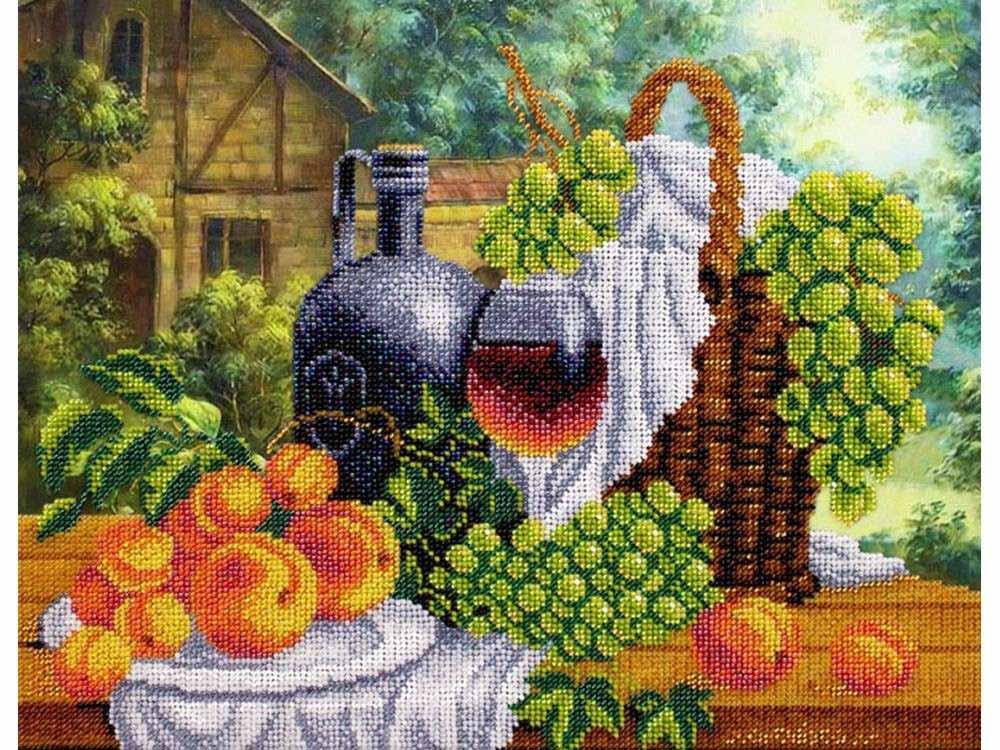 Набор вышивки бисером «Натюрморт с вином»Вышивка бисером Паутинка<br><br><br>Артикул: Б-1270<br>Основа: ткань<br>Размер: 36x28 см<br>Техника вышивки: бисер<br>Тип схемы вышивки: Цветная схема<br>Количество цветов: 22<br>Заполнение: Частичное<br>Рисунок на канве: нанесён рисунок и схема<br>Техника: Вышивка бисером