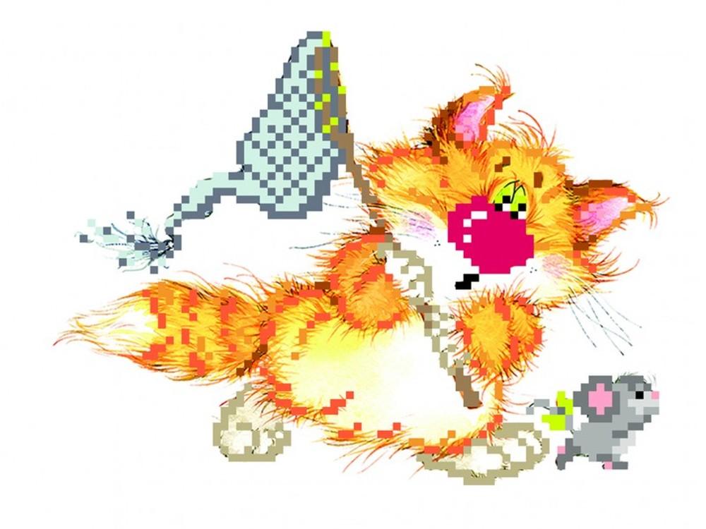 Набор вышивки бисером «Без кота - жизнь не та! Салочки»Вышивка бисером Матренин Посад<br><br><br>Артикул: 0124/Б<br>Основа: шелк<br>Размер: 24x26 см<br>Техника вышивки: бисер<br>Тип схемы вышивки: Цветная схема<br>Размер вышитой работы: 11x16 см<br>Количество цветов: 14<br>Заполнение: Частичное<br>Рисунок на канве: нанесён рисунок и схема<br>Техника: Вышивка бисером
