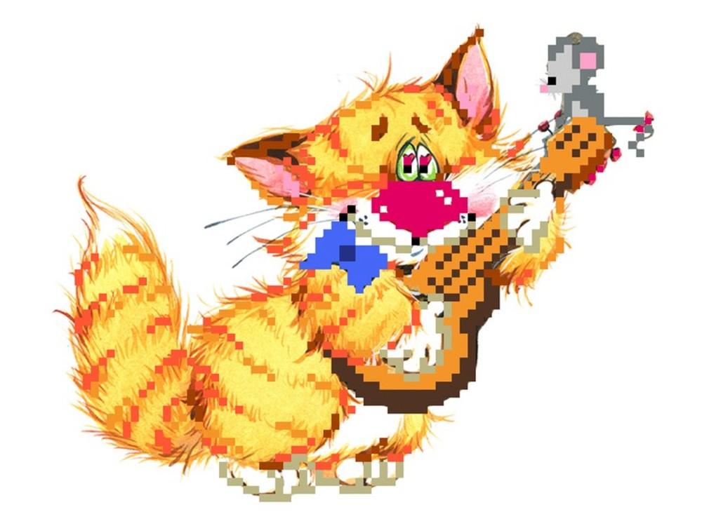 Набор вышивки бисером «Без кота - жизнь не та! Музыкант»Вышивка бисером Матренин Посад<br><br><br>Артикул: 0125/Б<br>Основа: шелк<br>Размер: 24x26 см<br>Техника вышивки: бисер<br>Тип схемы вышивки: Цветная схема<br>Размер вышитой работы: 11x15 см<br>Количество цветов: 14<br>Заполнение: Частичное<br>Рисунок на канве: нанесён рисунок и схема<br>Техника: Вышивка бисером