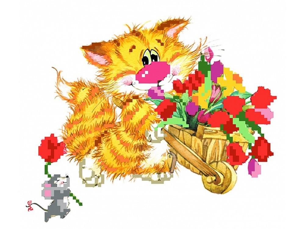 Набор вышивки бисером «Без кота - жизнь не та! Цветы для друзей»Вышивка бисером Матренин Посад<br><br><br>Артикул: 0127/Б<br>Основа: шелк<br>Размер: 24x26 см<br>Техника вышивки: бисер<br>Тип схемы вышивки: Цветная схема<br>Размер вышитой работы: 11x16 см<br>Количество цветов: 14<br>Заполнение: Частичное<br>Рисунок на канве: нанесён рисунок и схема<br>Техника: Вышивка бисером