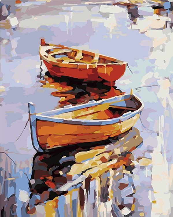"""Картина по номерам «Две лодки» Георгия КолароваАртвентура<br>Картины по номерам """"Артвентура"""" - это высокое качество составляющих от холста до оригинальной упаковки.<br> Отличие наборов этого бренда от других производителей заключается в том, что:<br> - каждая схема разработана с ювелирной точностью;<br> - белый высококач...<br>"""