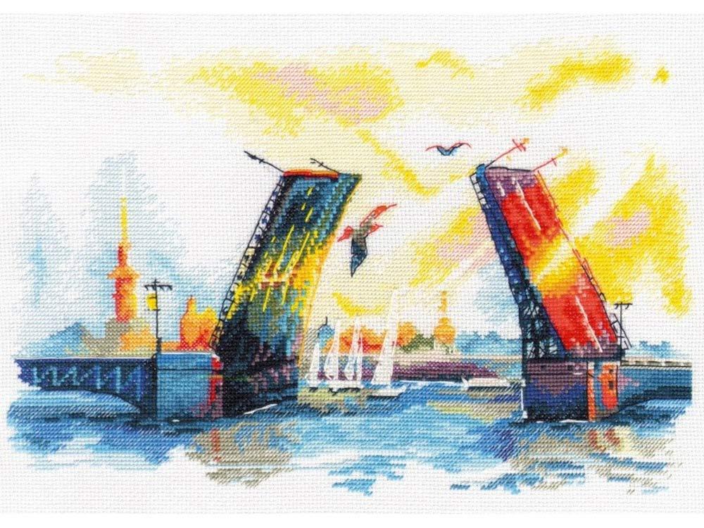 Набор для вышивания «Дворцовый мост»Вышивка крестом Овен<br><br><br>Артикул: 1003<br>Основа: канва Aida 16<br>Размер: 28x18 см<br>Техника вышивки: счетный крест<br>Тип схемы вышивки: Цветная схема<br>Цвет канвы: Белый<br>Количество цветов: 24<br>Заполнение: Частичное<br>Рисунок на канве: не нанесён<br>Техника: Вышивка крестом<br>Нитки: мулине 100% хлопок