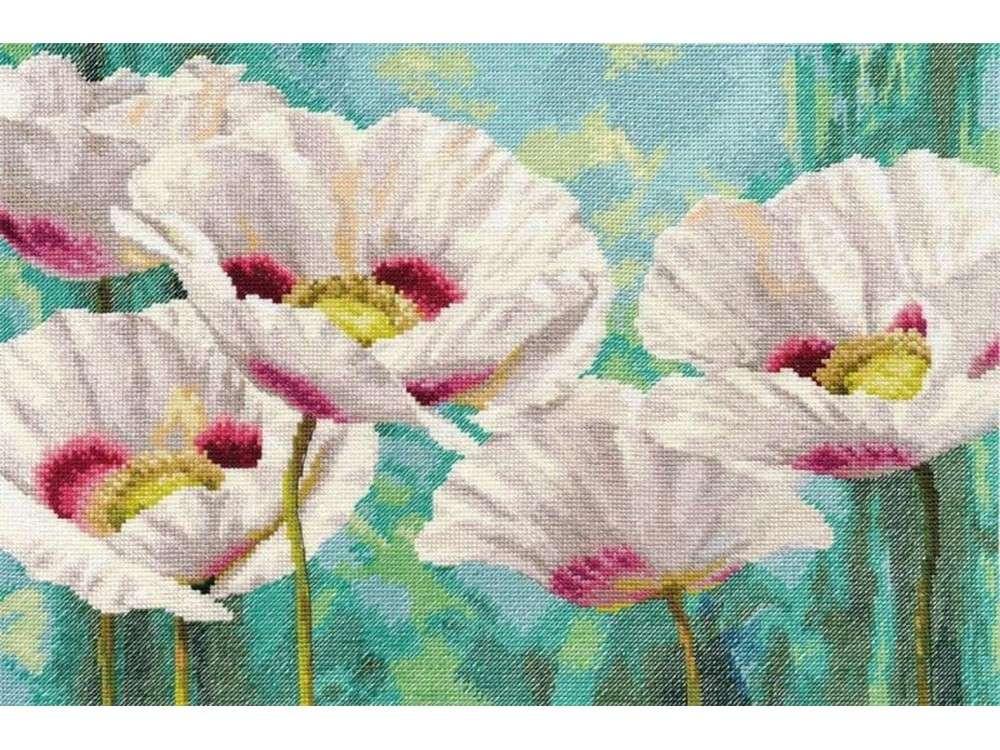 Купить Вышивка крестом, Набор для вышивания «Белые маки», Алиса
