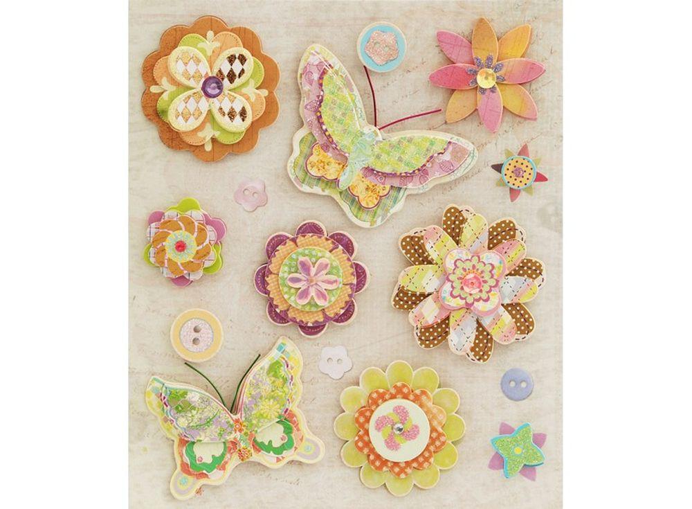 3D-cтикеры «Волшебные цветы»Бумага и материалы для скрапбукинга<br><br><br>Артикул: 2515-SB<br>Размер: 12x14 см