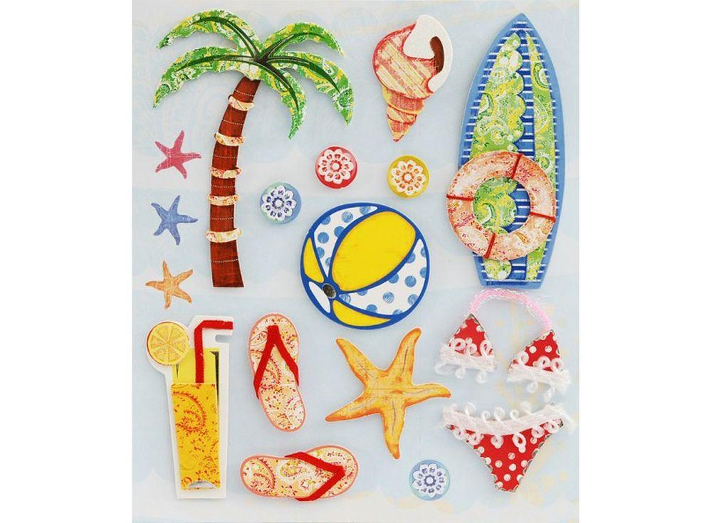 3D-cтикеры «Отличный отдых»Бумага и материалы для скрапбукинга<br><br><br>Артикул: 2516-SB<br>Размер: 12x14 см