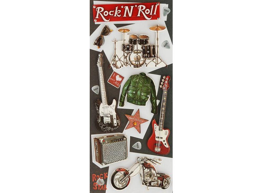 3D-cтикеры «Рок и ролл»Бумага и материалы для скрапбукинга<br><br><br>Артикул: 2599-SB<br>Размер: 10,5x24 см