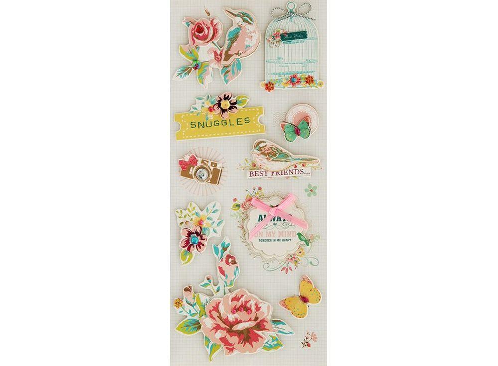 3D-cтикеры «Роза и птицы»Бумага и материалы для скрапбукинга<br><br><br>Артикул: 2604-SB<br>Размер: 10,5x24 см
