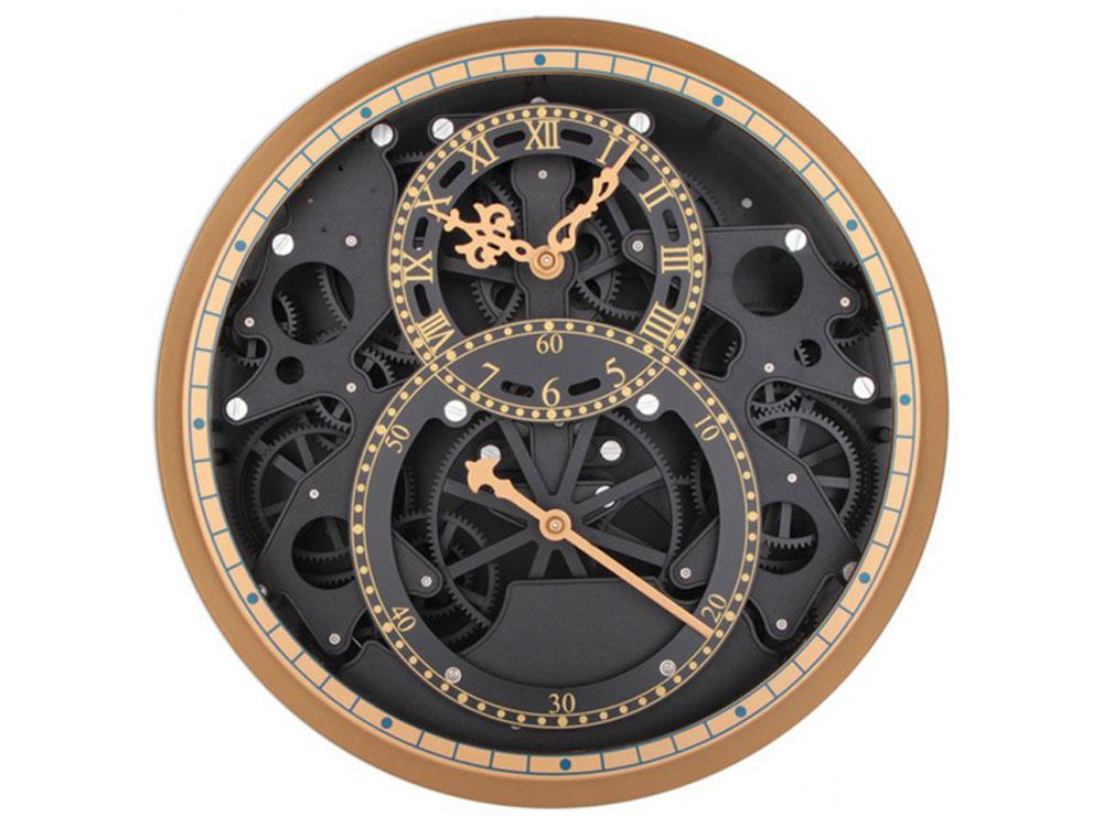 Часы настенные «Время бесконечно»Дизайнерские настенные часы<br>Наш ассортимент пополнился новыми моделями часов-скелетонов. Открытый корпус этих часов позволяет заглянуть внутрь устройства и узнать, как работают многочисленные шестерни, колесики и стрелки. В настенных моделях сверху расположено защитное стекло, но пр...<br><br>Артикул: 504-CL<br>Размер: 34,5 см (диаметр)