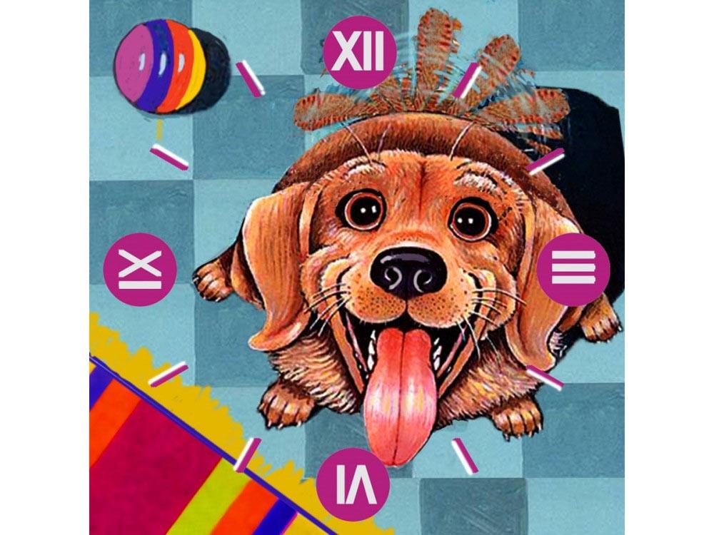 Алмазные часы «Счастливый пес»Color Kit (Алмазные часы)<br><br><br>Артикул: 7303006<br>Основа: Холст на подрамнике<br>Сложность: средние<br>Размер: 30x30 см<br>Выкладка: Частичная<br>Количество цветов: 23