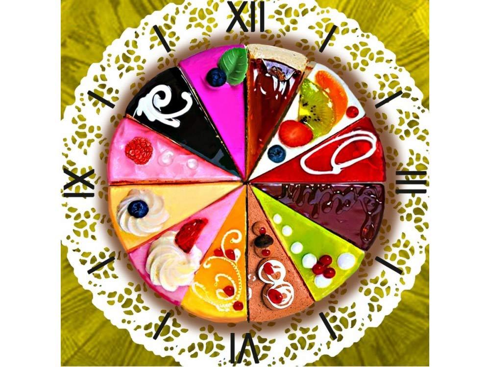 Алмазные часы «Время десерта»Color Kit (Алмазные часы)<br><br><br>Артикул: 7303007<br>Основа: Холст на подрамнике<br>Сложность: средние<br>Размер: 30x30 см<br>Выкладка: Частичная<br>Количество цветов: 31