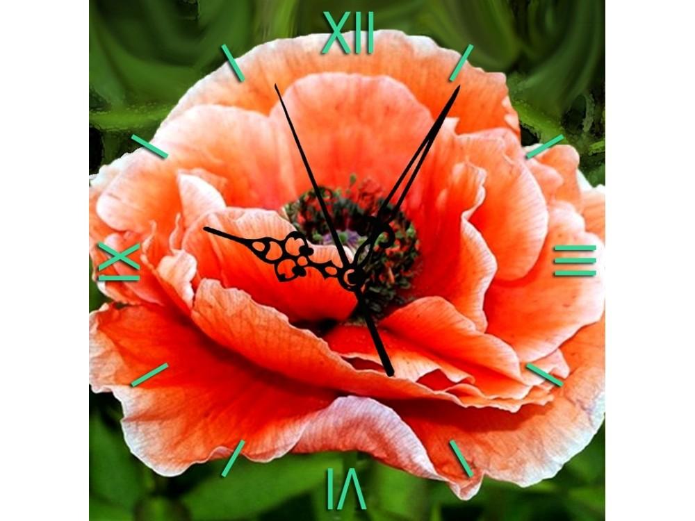 Алмазные часы «Нежный мак»Color Kit (Алмазные часы)<br><br><br>Артикул: 7303011P<br>Основа: Холст на подрамнике<br>Сложность: средние<br>Размер: 30x30 см<br>Выкладка: Полная<br>Количество цветов: 22