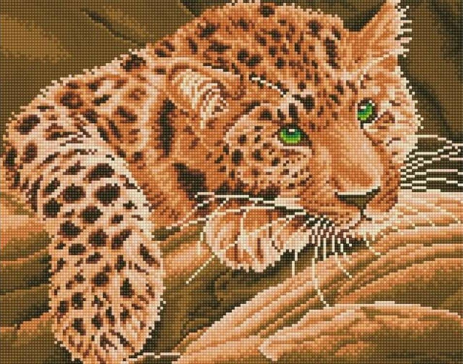 Алмазная вышивка «Африканский леопард»Цветной<br>Обновленная серия алмазной мозаики от бренда Цветной - это яркие популярные сюжеты и расширенная комплектация качественными составляющими. <br><br><br>Особенности алмазной вышивки от Цветной:<br><br>тканевый холст имеет ярко выраженную приятную на ощупь бархатисту...<br><br>Артикул: A204<br>Основа: Холст на подрамнике<br>Сложность: сложные<br>Размер: 40x50 см<br>Выкладка: Полная<br>Количество цветов: 20-35<br>Тип страз: Круглые непрозрачные (акриловые)