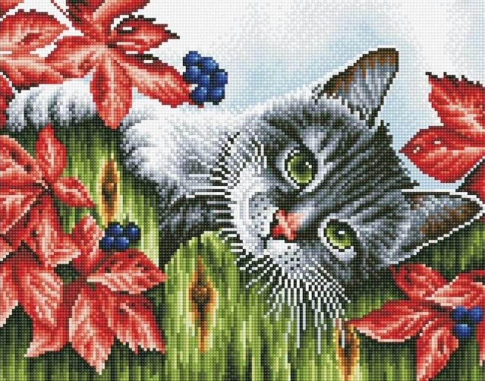Алмазная вышивка «Котенок в саду»Цветной<br>Обновленная серия алмазной мозаики от бренда Цветной - это яркие популярные сюжеты и расширенная комплектация качественными составляющими. <br><br><br>Особенности алмазной вышивки от Цветной:<br><br>тканевый холст имеет ярко выраженную приятную на ощупь бархатисту...<br><br>Артикул: A208<br>Основа: Холст на подрамнике<br>Сложность: сложные<br>Размер: 40x50 см<br>Выкладка: Полная<br>Количество цветов: 20-35<br>Тип страз: Круглые непрозрачные (акриловые)