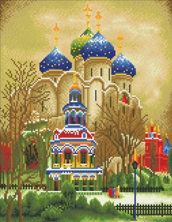 Алмазная вышивка «Троицкий Собор»Цветной<br>Обновленная серия алмазной мозаики от бренда Цветной - это яркие популярные сюжеты и расширенная комплектация качественными составляющими. <br><br><br>Особенности алмазной вышивки от Цветной:<br><br>тканевый холст имеет ярко выраженную приятную на ощупь бархатисту...<br><br>Артикул: A211<br>Основа: Холст на подрамнике<br>Сложность: сложные<br>Размер: 40x50 см<br>Выкладка: Полная<br>Количество цветов: 20-35<br>Тип страз: Круглые непрозрачные (акриловые)