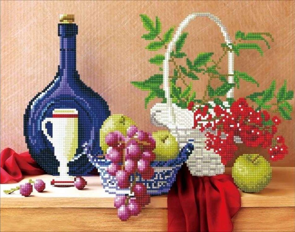 Алмазная вышивка «Натюрморт с вином и фруктами»Цветной<br>Обновленная серия алмазной мозаики от бренда Цветной - это яркие популярные сюжеты и расширенная комплектация качественными составляющими. <br><br><br>Особенности алмазной вышивки от Цветной:<br><br>тканевый холст имеет ярко выраженную приятную на ощупь бархатисту...<br><br>Артикул: A218<br>Основа: Холст на подрамнике<br>Сложность: сложные<br>Размер: 40x50 см<br>Выкладка: Частичная<br>Количество цветов: 20-35<br>Тип страз: Круглые непрозрачные (акриловые)