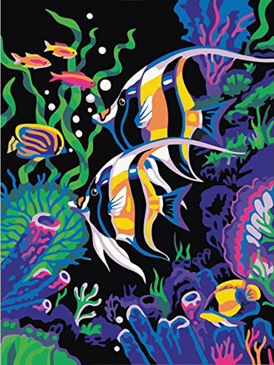 Картина по номерам «Цветные рыбки»Раскраски по номерам Color Kit<br><br><br>Артикул: CE004<br>Основа: Холст<br>Сложность: средние<br>Размер: 30x40 см<br>Количество цветов: 18<br>Техника рисования: Без смешивания красок