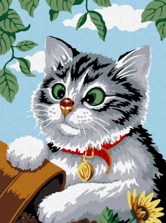 Картина по номерам «Котенок»Раскраски по номерам Color Kit<br><br><br>Артикул: CE085<br>Основа: Холст<br>Сложность: средние<br>Размер: 30x40 см<br>Количество цветов: 14<br>Техника рисования: Без смешивания красок