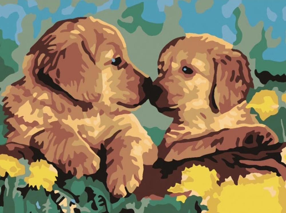 Картина по номерам «Милые щенки»Раскраски по номерам Color Kit<br><br><br>Артикул: CE102<br>Основа: Холст<br>Сложность: средние<br>Размер: 30x40 см<br>Количество цветов: 14<br>Техника рисования: Без смешивания красок