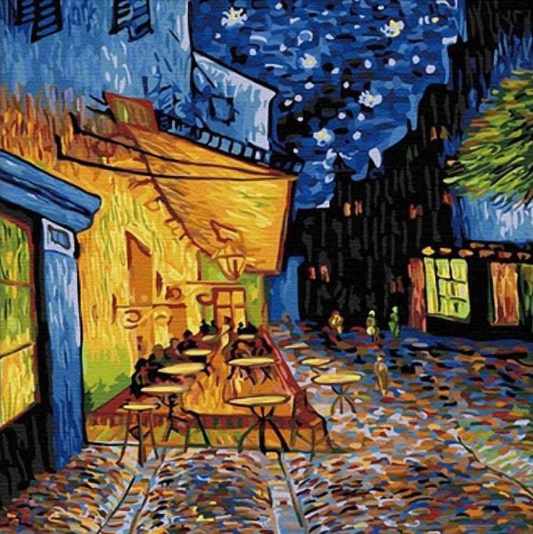 Картина по номерам «Ночное кафе» Ван ГогаРаскраски по номерам Color Kit<br><br><br>Артикул: CF114<br>Основа: Холст<br>Сложность: сложные<br>Размер: 40x40 см<br>Количество цветов: 24<br>Техника рисования: Без смешивания красок